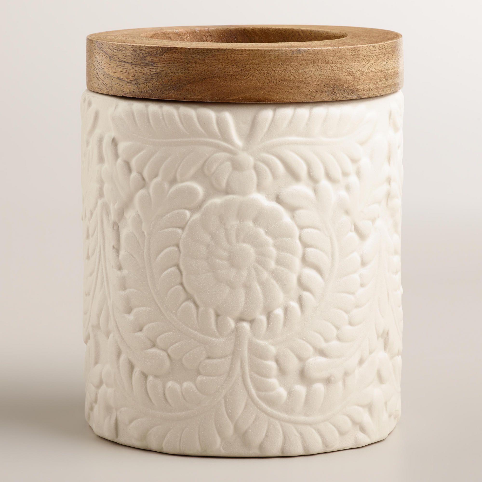 Matte Ivory Floral Utensil Crock Pottery Kitchen Utensil Crock Decor