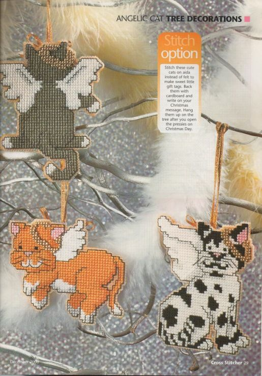 Angelic Cat tree decorations, plastic canvas, cover page, page 2/4pr
