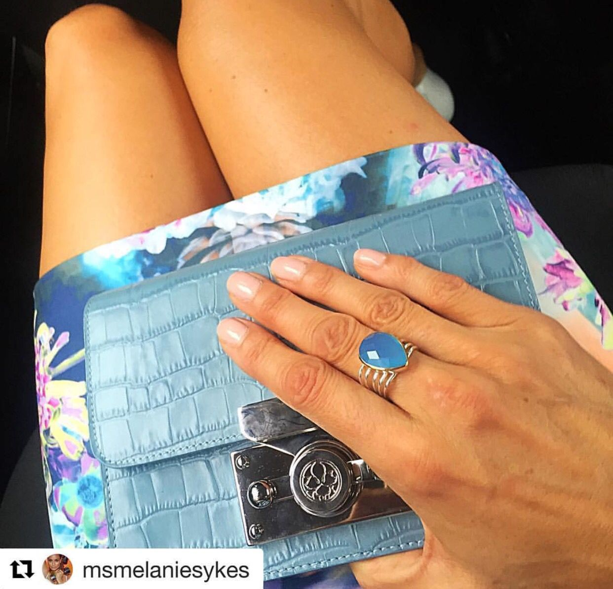 Beautiful English ITV presenter and model spotted with Saya Croco blue  at the ITV summer party.  #Repost @msmelaniesykes with @repostapp ・・・ My little ensemble last night @hybridfashion beautiful clutch @subella_london and ring @delmaestro_byc #itvsummerparty #dress #clutchbag #jewelrydesigner #leather #jewelry
