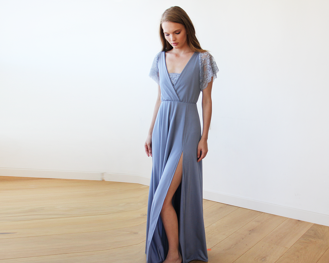 Dusty Blue wrap maxi dress with short lace sleeves 1052 | Dusty blue ...