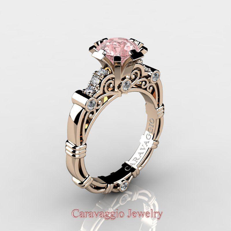 3023ac0f4bc34 Caravaggio 14K Rose Gold 1.25 Ct Pink Morganite Diamond Engagement ...