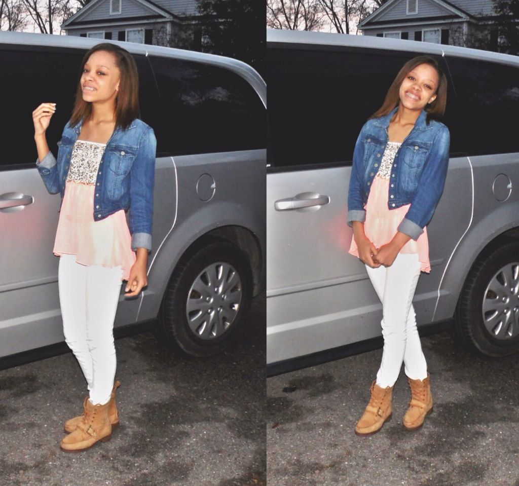 High - Low shirt, white jeans and denim jacket