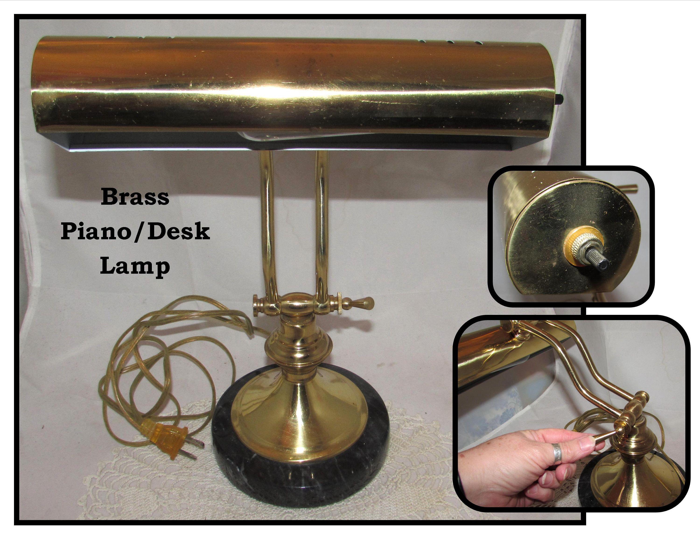 Vintage Portable Adjustable Brass Piano Or Desk Lamp W