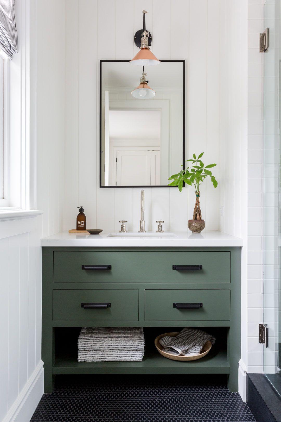 A Charming Home Tour Lark Linen Simple Bathroom Designs Simple Bathroom Green Bathroom [ 1620 x 1080 Pixel ]