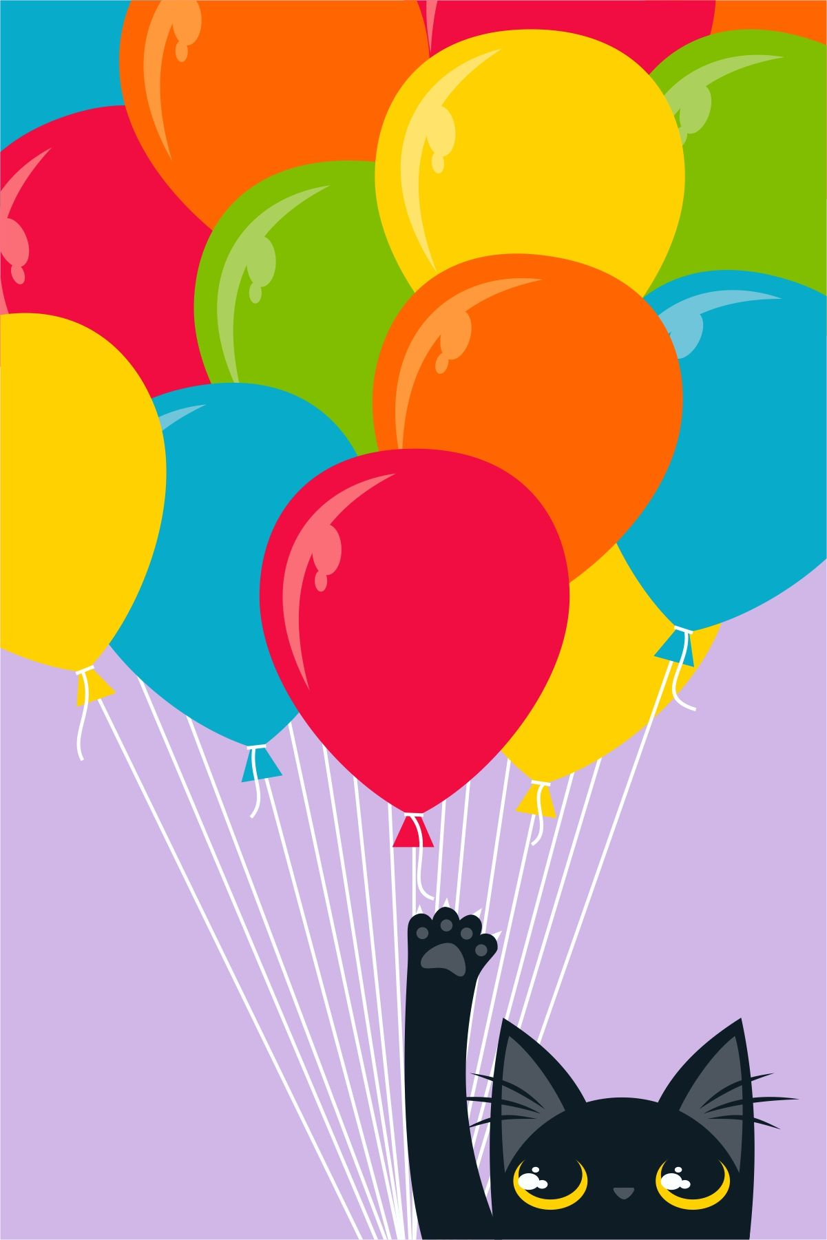 set of 4 Funny Black Cat vs Party Balloons Cards Funny Black Cat Art Card Set Funny Black Cat Birthday Balloons Note Cards /& Stationery