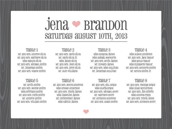 RoundUp  Seating Charts Wedding And Table Seating Chart