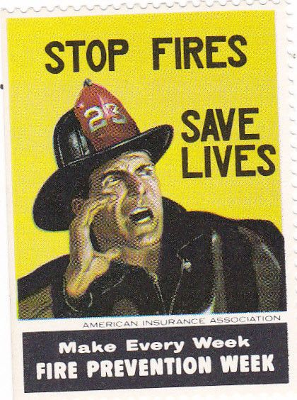 Fire Prevention Week Poster Stamp American Insurance Company