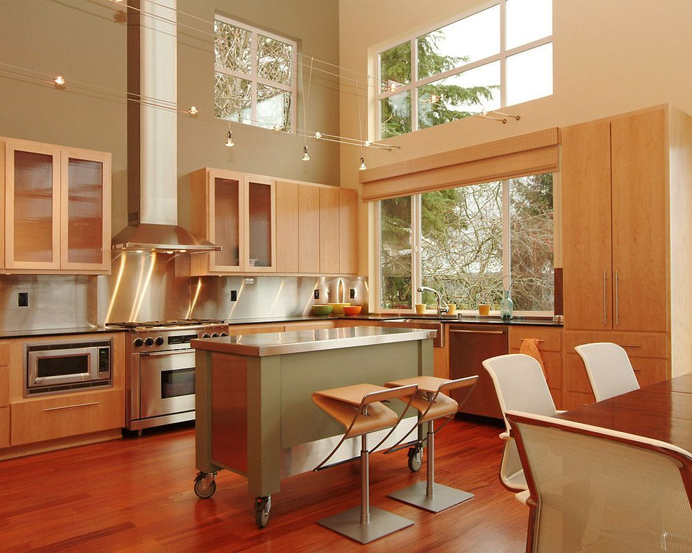 Small stainless steel islands for the spacesavvy modern kitchen