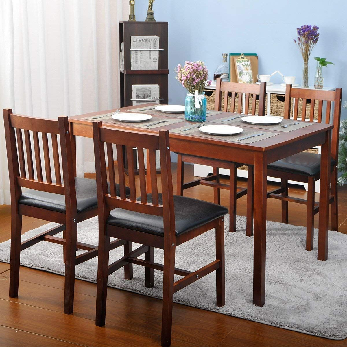 5 Piece Wood Dining Table Set 4 Person Home Kitchen Table And Chairs Walnut Nice Dining Dining Room Table Set Round Dining Table Sets Round Dining Room Sets