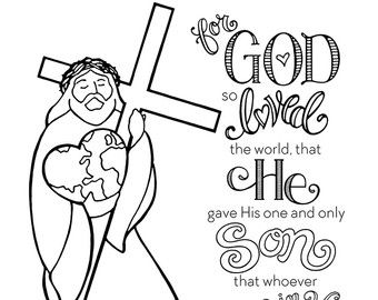For God so Loved the World Coloring Page by