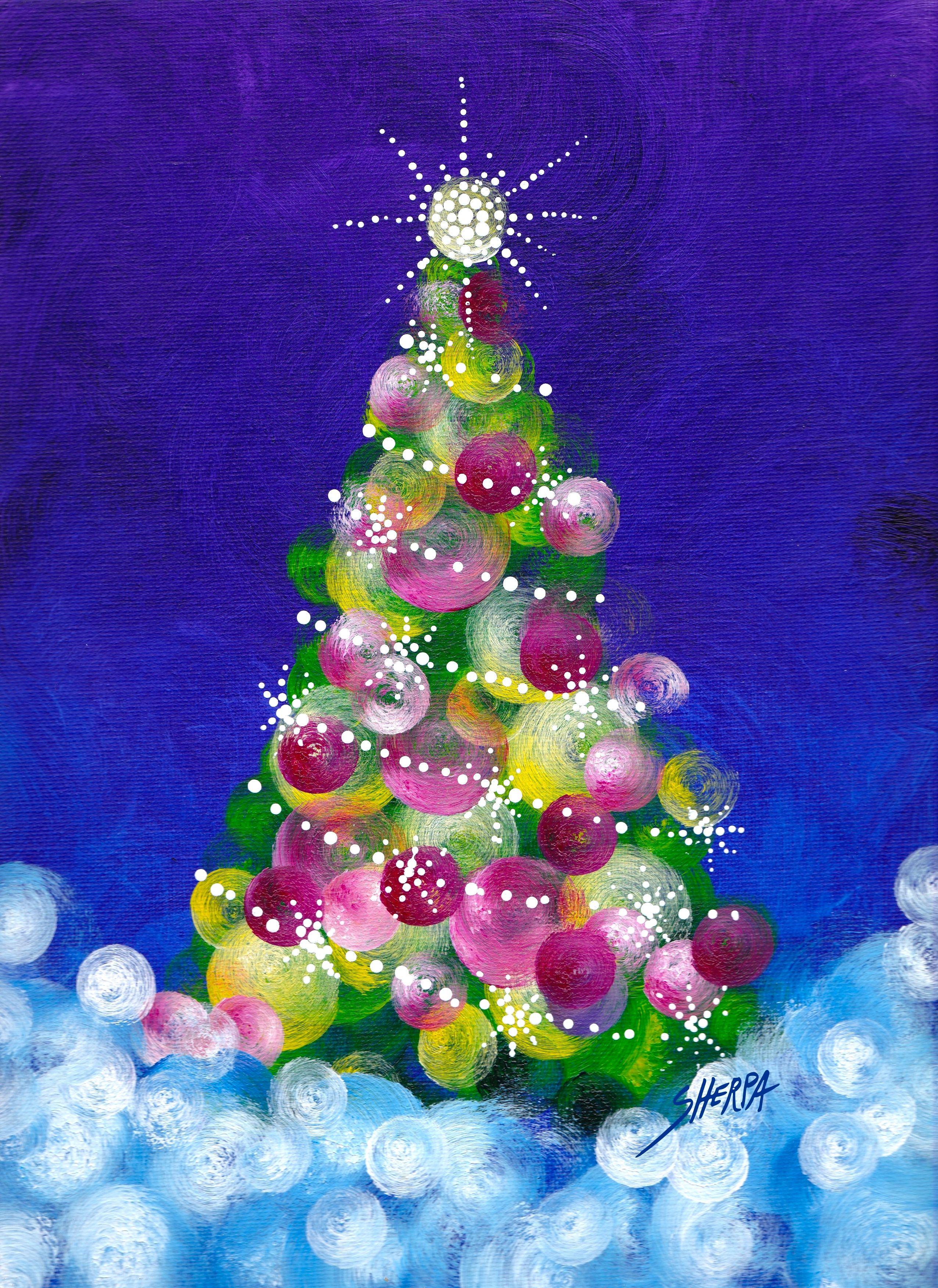 Easy Acrylic Christmas Tree Painting Idea For Beginners Step By