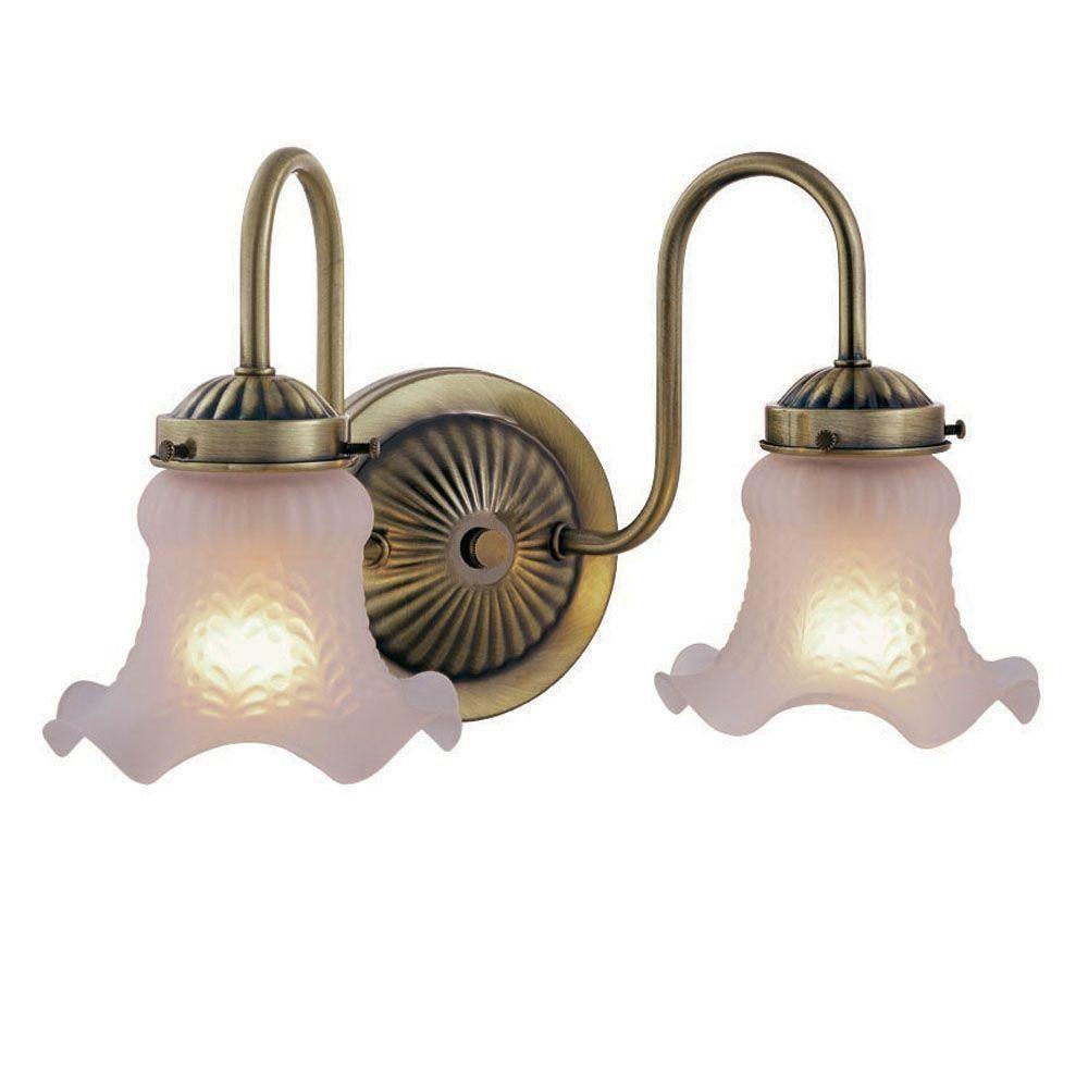 Hampton Bay 2-Light Antique Brass Vanity Light-WB0329 - The Home Depot