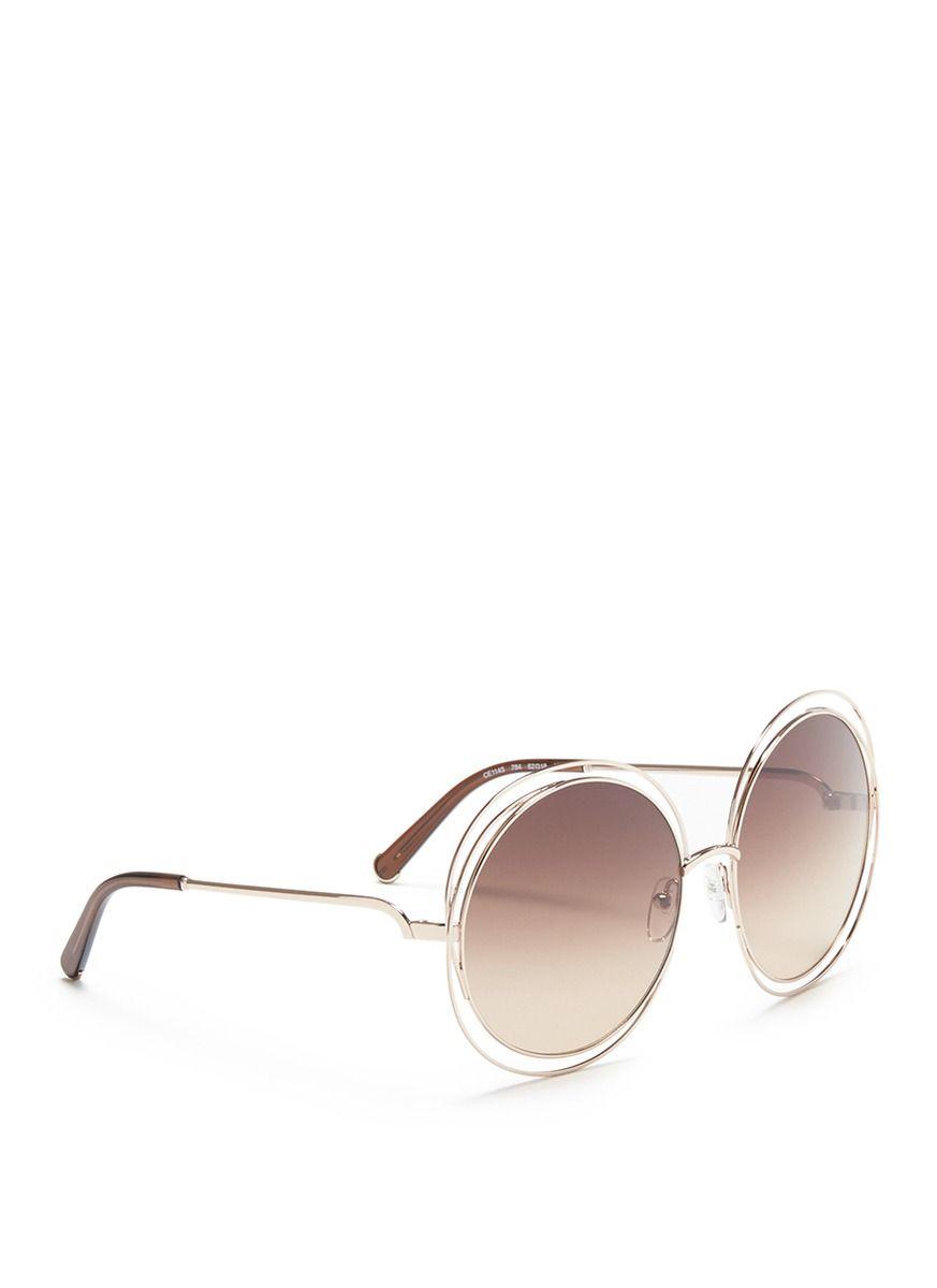 e533451bda7 Chloé -  carlina  Overlap Wire Rim Oversized Round Sunglasses