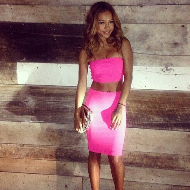 Karrueche Dressed In All Pink For A Night Out During Her Birthday