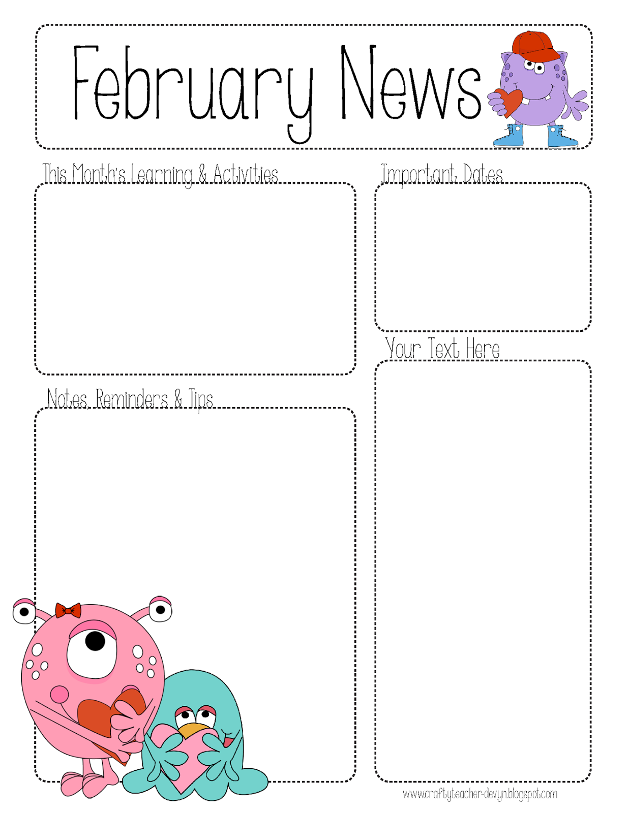 Preschool ValentineS Day February Newsletter Template