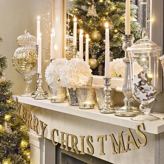 Gold and white Christmas mantel Christmas magic Pinterest