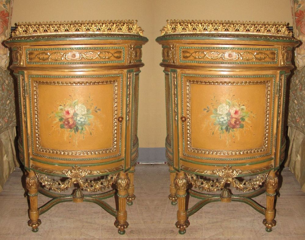 Pair Antique French Louis Xv Hand Painted Demilune