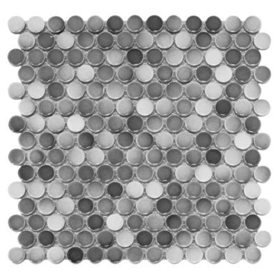 P This Gray Penny Porcelain Mosaic Is 12in X With A
