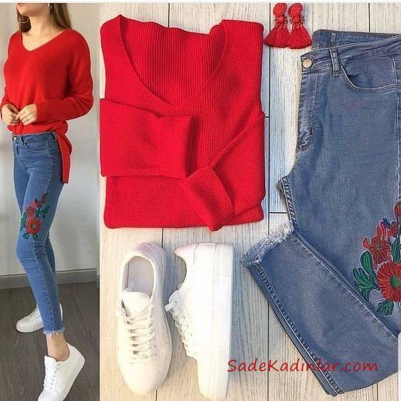 2019 Spor Ayakkabı Kombinleri Mavi Yüksel Bel Kot Pantolon Kırmızı V Yaka Kazak Beyaz Spor Ayakkabı