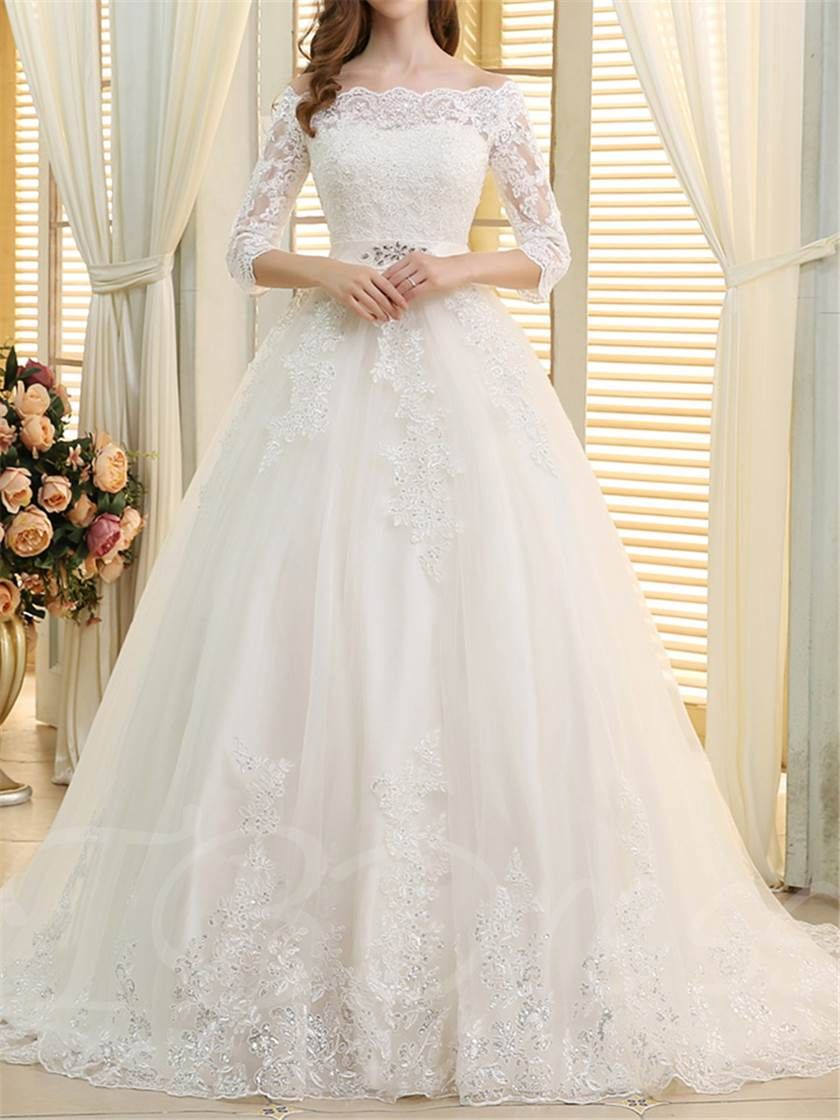 Off the shoulder appliques aline wedding dress in wedding