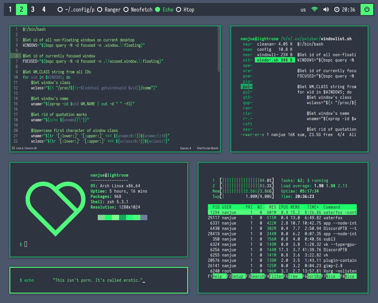 bspwm]Clean and Green you say? in 2019 | Riced Nix | Unix