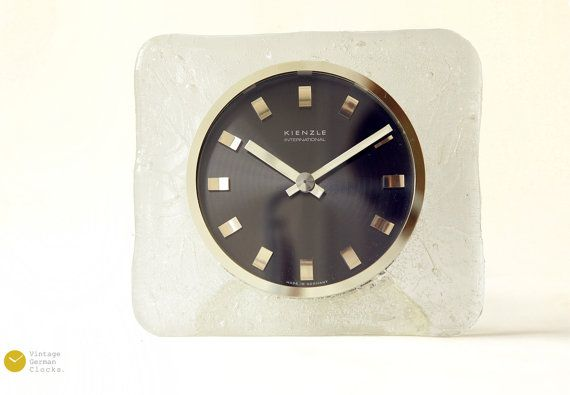 Mid Century Kienzle Ice Glass Desk Clock Bauhaus Space Age