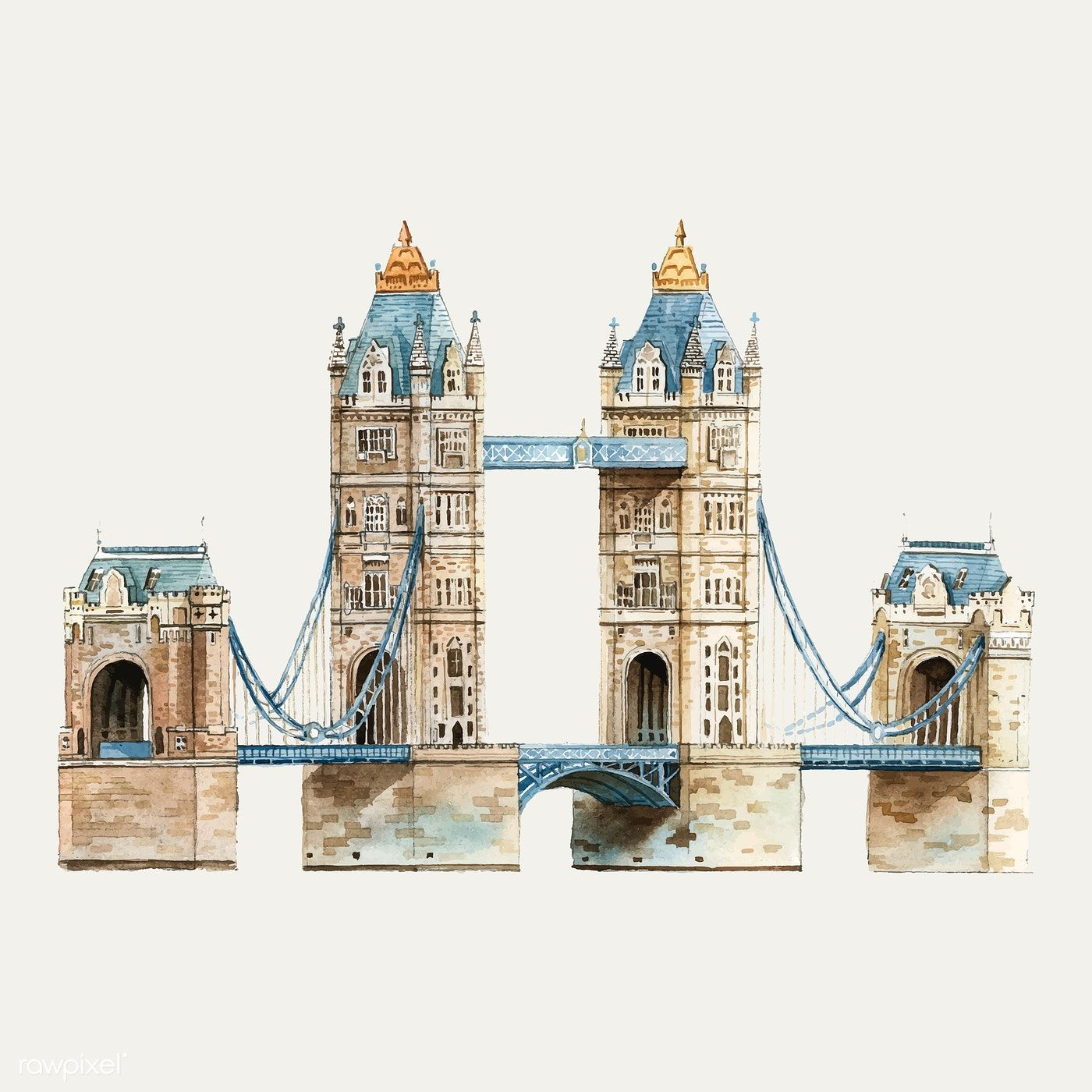 Tower Bridge London Original Watercolor Painting By Artist Carlin