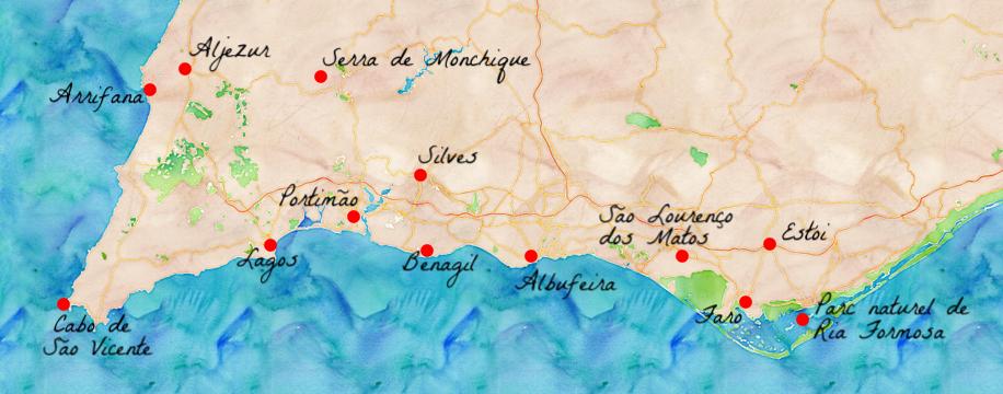 carte touristique de l algarve L'Algarve, un beau road trip au Portugal   Carigami | Algarve