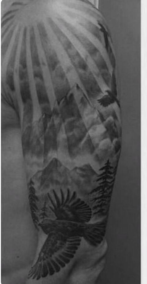 Sun Mountain Nature Tattoo Heaven Tattoos Men Tattoos Arm Sleeve Ray Tattoo