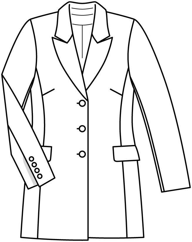 Жакет-блейзер - выкройка № 411 из журнала 2/2015 Burda. Мода для полных – выкройки жакетов на Burdastyle.ru