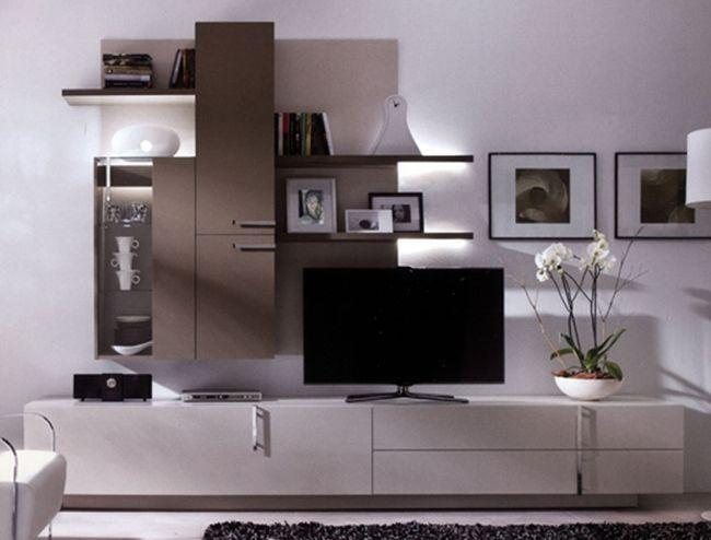 muebles para salon moderno lacados cristal y tiradores de metal con brillo