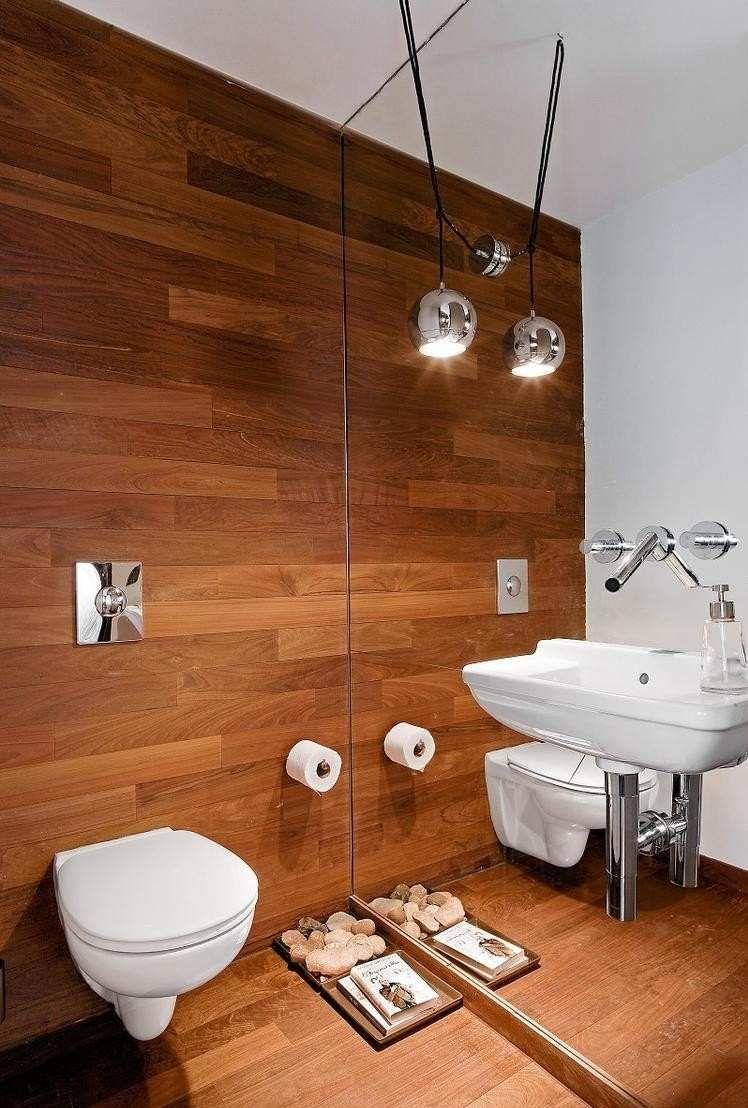 Carrelage salle de bain imitation bois 34 id es modernes - Miroir salle de bain bois ...