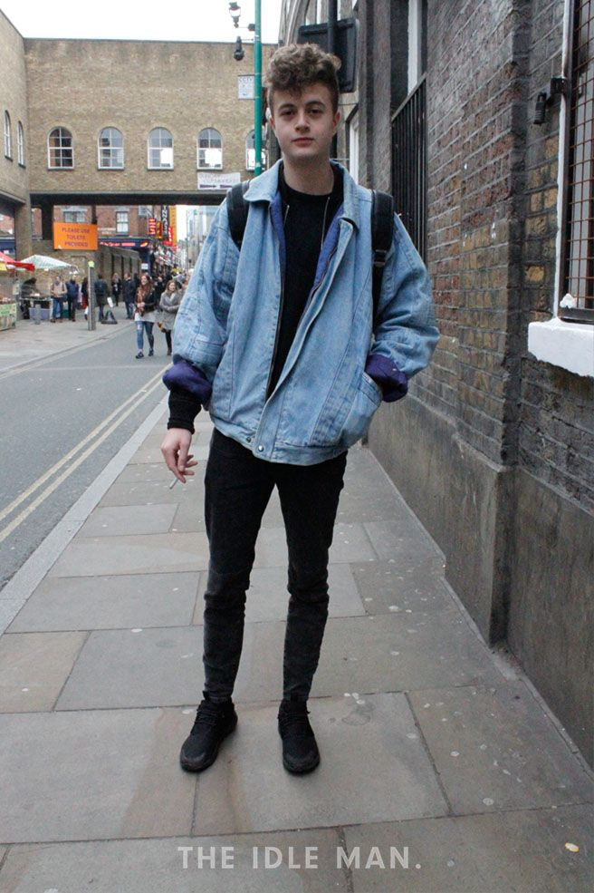 Men\u0027s street style, for a retro style look, wear an oversized denim jacket  with black skinny jeans, black t,shirt and finish the look with a pair of  black