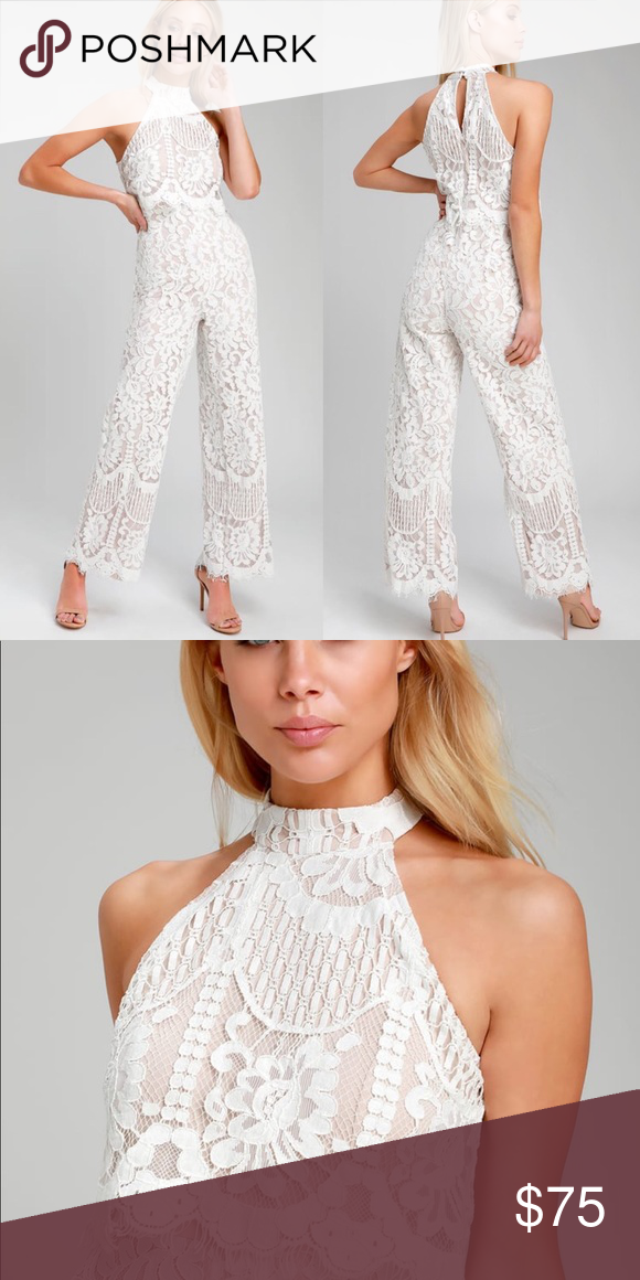 7433dd161d Lulus Britney White Lace Jumpsuit NWT Sold out online! Perfect for ...