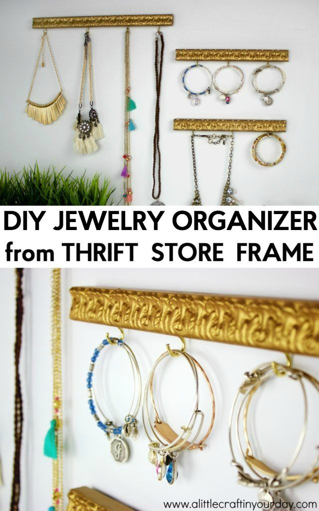 DIY Jewelry Organizer from a Thrift Store Frame | Diy jewelry ...