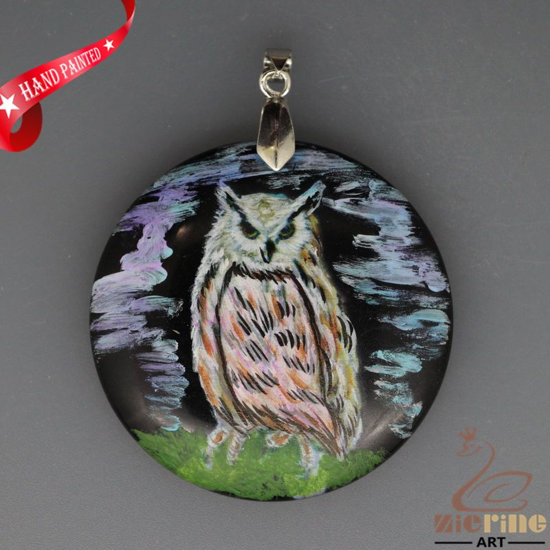 ATTRACTIVE HAND PAINTED OWL BIRD BLACK STONE DIY PENDANT FOR NECKLACE ZH2000107 #ZL #PENDANT