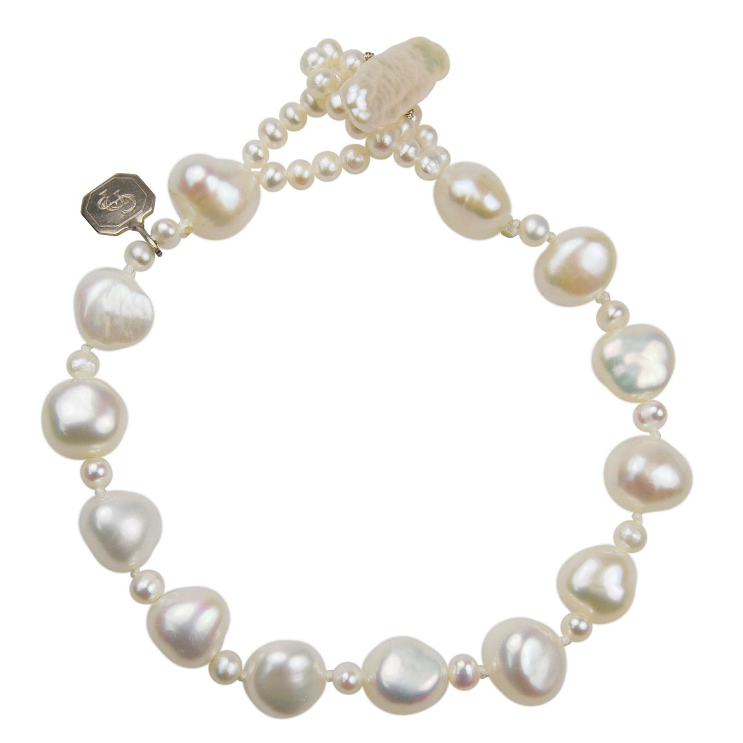 065e36415 An elegant single strand bracelet made with white cultured biwa freshwater  pearls and cultured seed pearl spacers. Order online or at our  Knightsbridge, ...