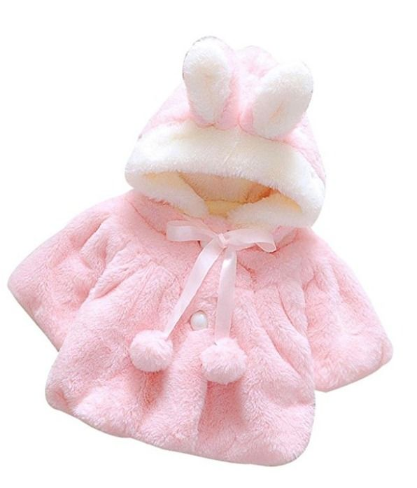 Baby Infant Girl Fur Winter Warm Coat Cloak Jacket Thick Warm Clothes Pink