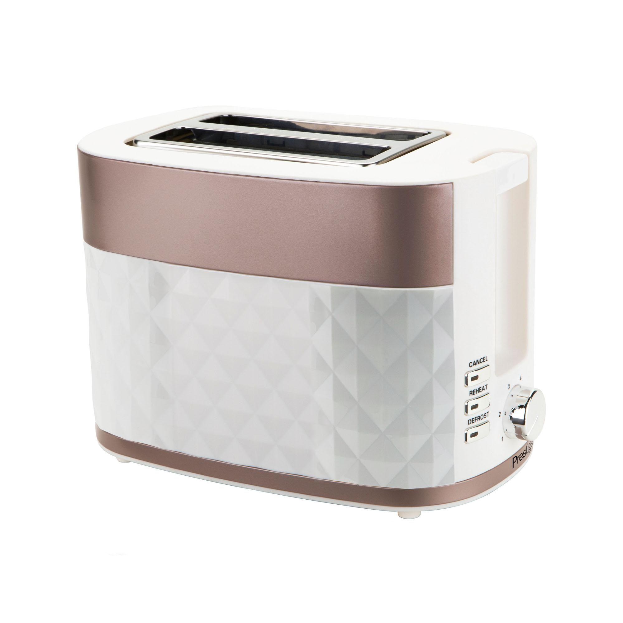 2 Slice Toaster White & Gold