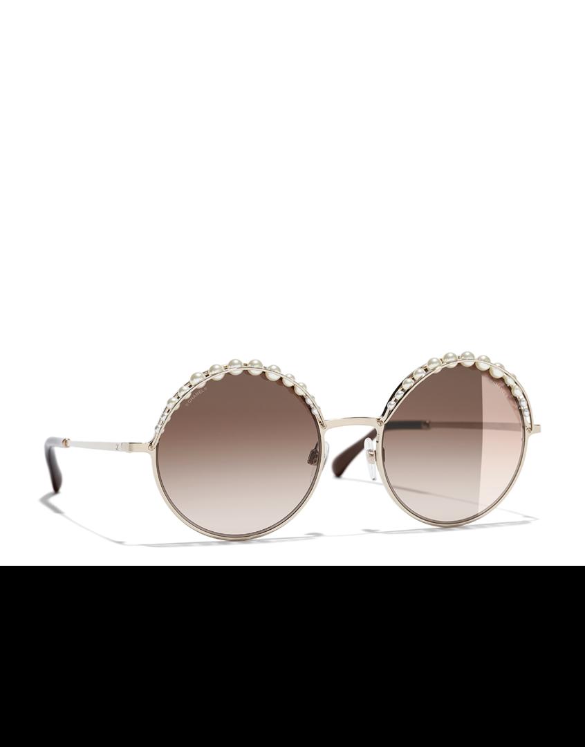 b07f69ab6 Óculos de sol redondo, metal & pérolas esmaltadas-dourado - CHANEL ...