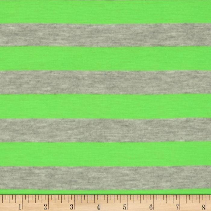Rayon Blend Jersey Knit Stripes Neon Green