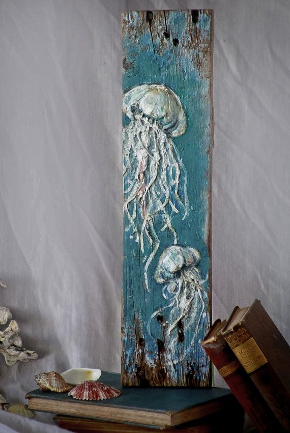 Handcrafted Jellyfish Sculpture on Reclaimed Wood by DeepRiverArt & Beautiful Handmade Jellyfish Painting 3d Wall Sculpture Art By ...