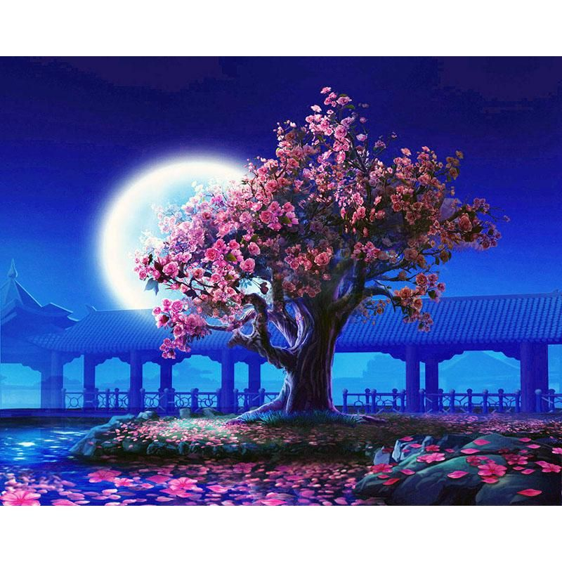 Vibrant Moon Paint By Number Kit Night Landscape Wall Art Pictures Diy Painting