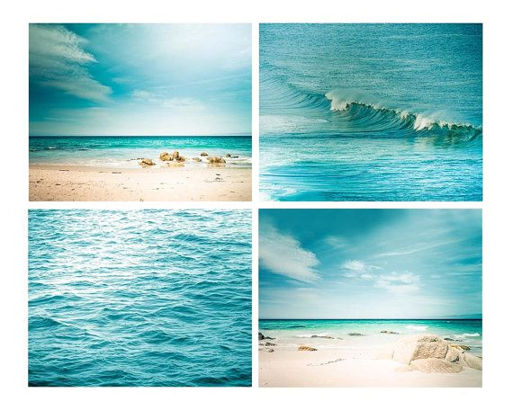 nautical decor print set beach photography coastal prints 8x8 8x10 8x12 teal wall art aqua teal blue abstract waves water aquamarine summer on Etsy, $66.00