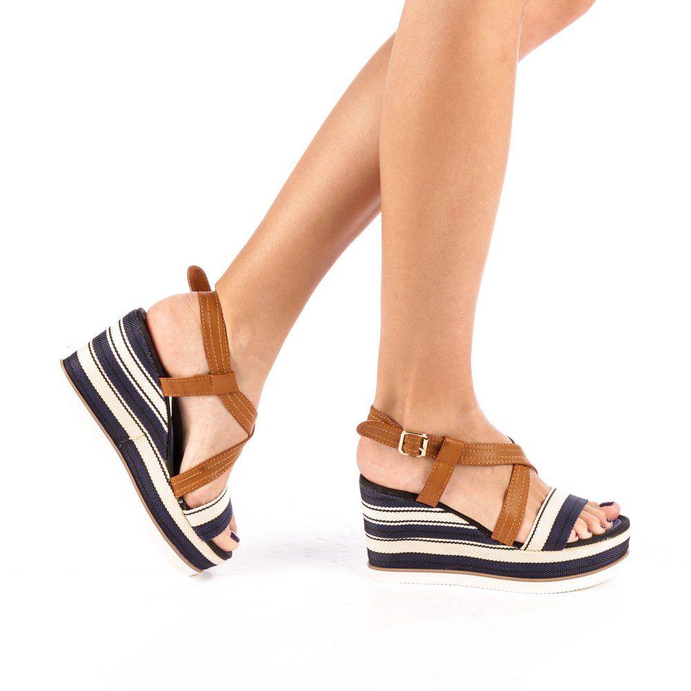 Incaltaminte Dama Sandale Dama Sandale Dama Cu Platforma Adras Albastre Sandal Espadrille Espadrilles Sandals