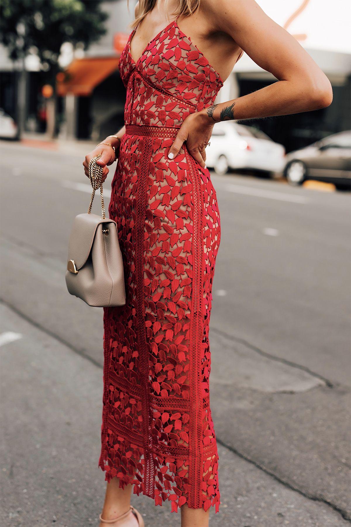 Fashion Jackson Red Lace Midi Dress Brunch Dress Dresses To Wear To A Wedding [ 1800 x 1200 Pixel ]
