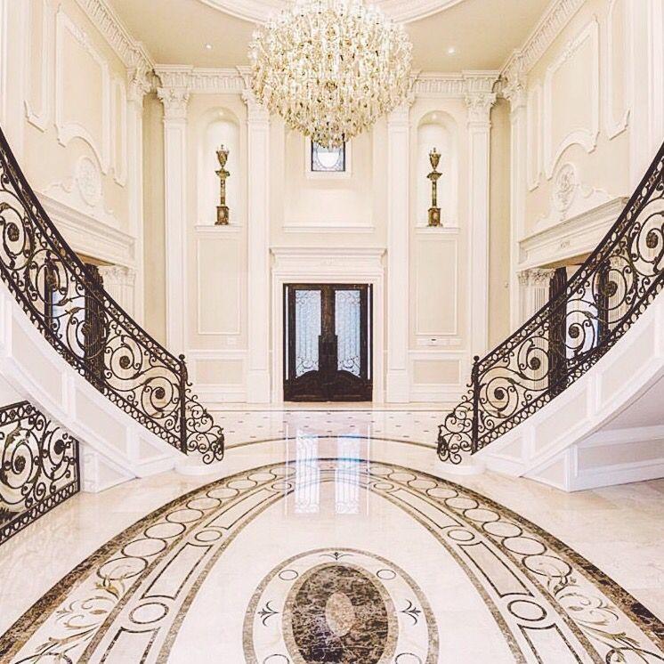 Grand Foyer Staircase: Luxury Grand Foyer Interior Design #DoubleStaircase