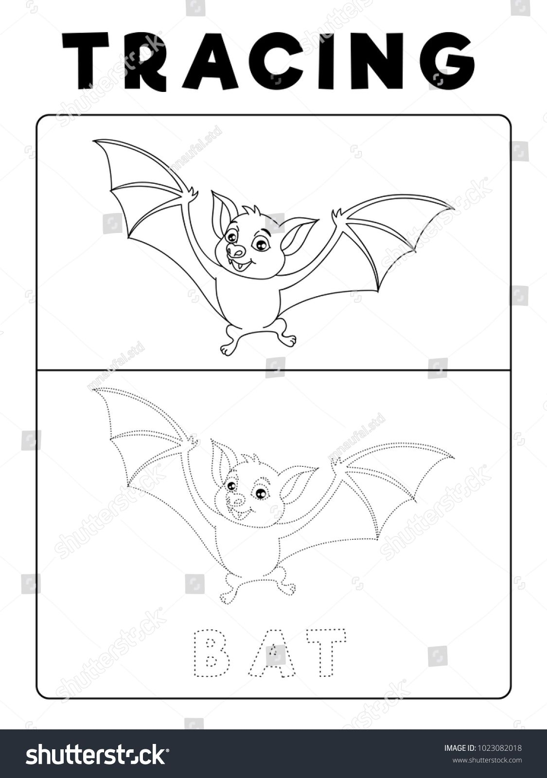 Funny Bat Tracing Book With Example Preschool Worksheet