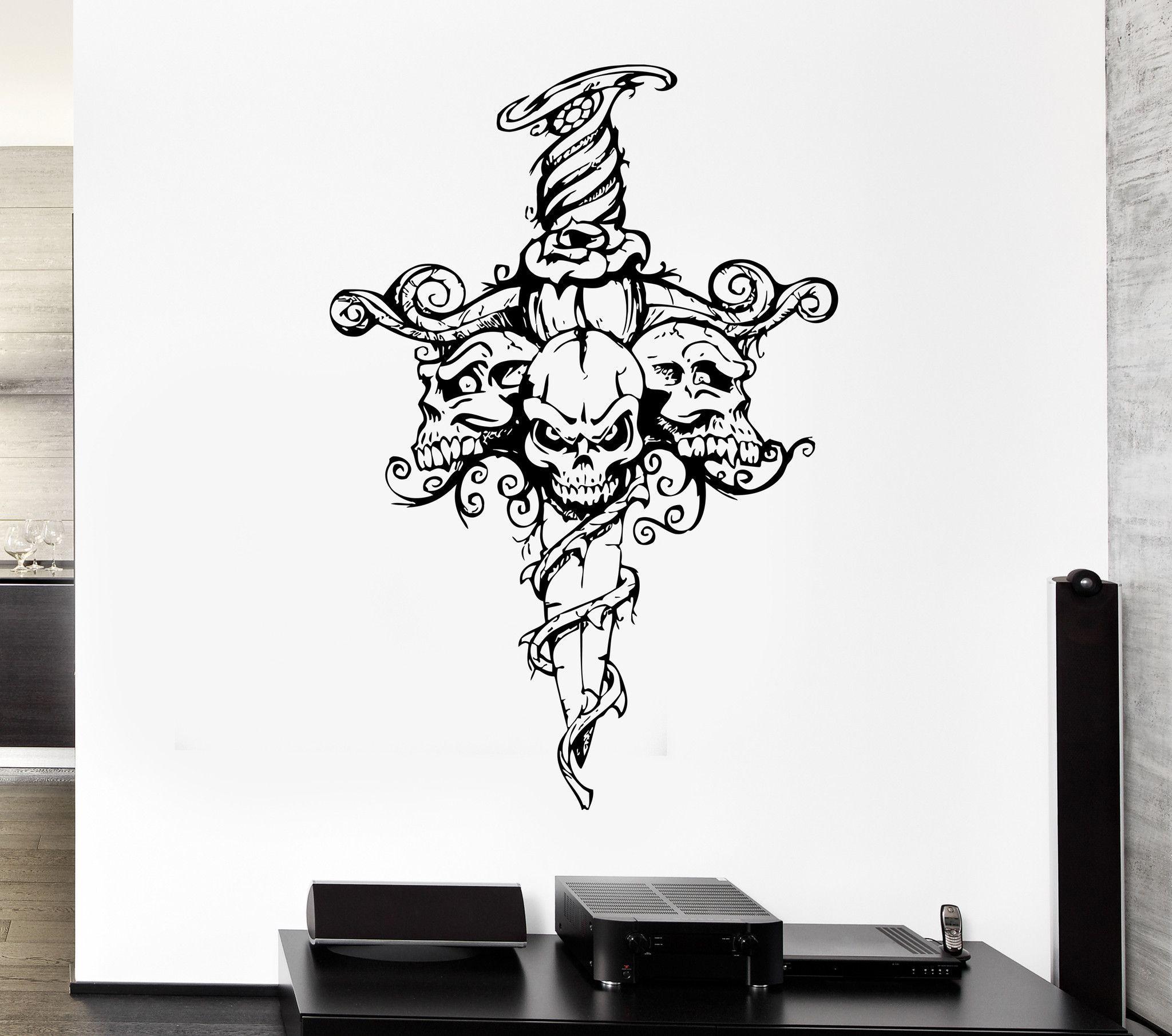 Wall Decal Skull Skeleton Sword Poison Ivy Flower Monster Vinyl ...