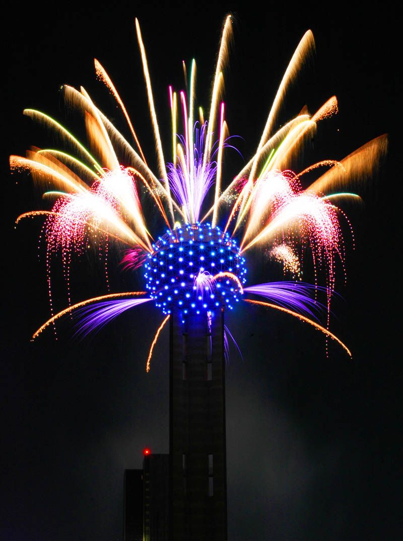reunion tower Google Search Downtown dallas, Fireworks